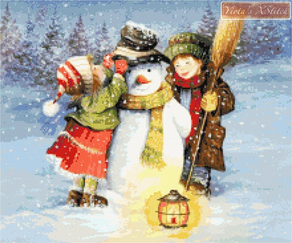 Snowman with children counted cross stitch kit
