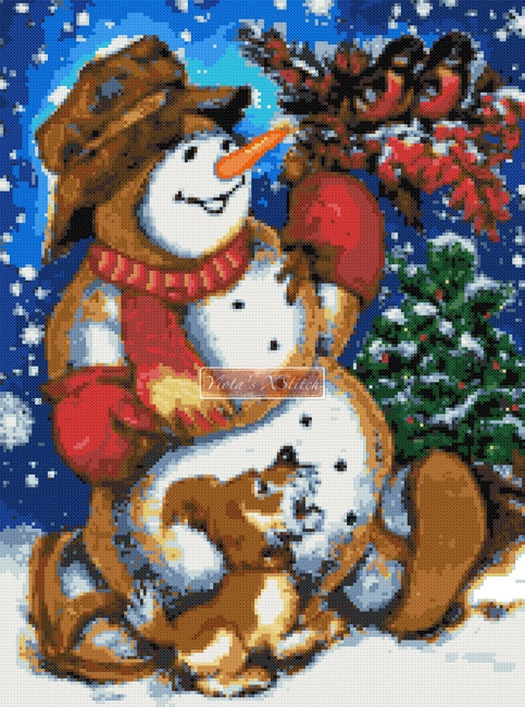 Snowman with friends v2 counted cross stitch kit