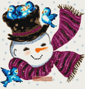 Snowman with birds No2 counted cross stitch kit
