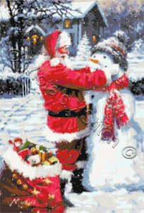 Snowman's hat Santa counted cross stitch kit