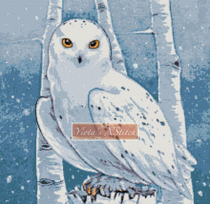 Snowy owl counted cross stitch kit