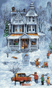 Snowy winter street house No1 counted cross stitch kit