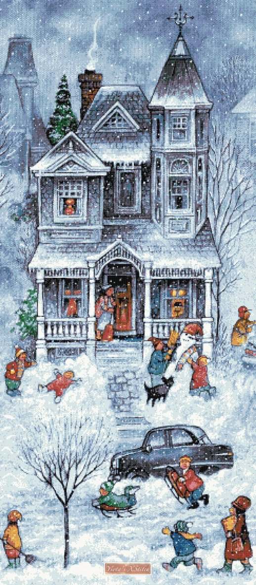 Snowy winter street house No2 counted cross stitch kit
