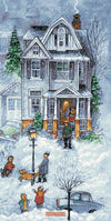 Snowy winter street house No3 counted cross stitch kit