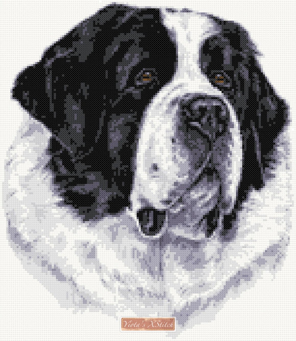 St Bernard Newfoundland dog counted cross stitch kit