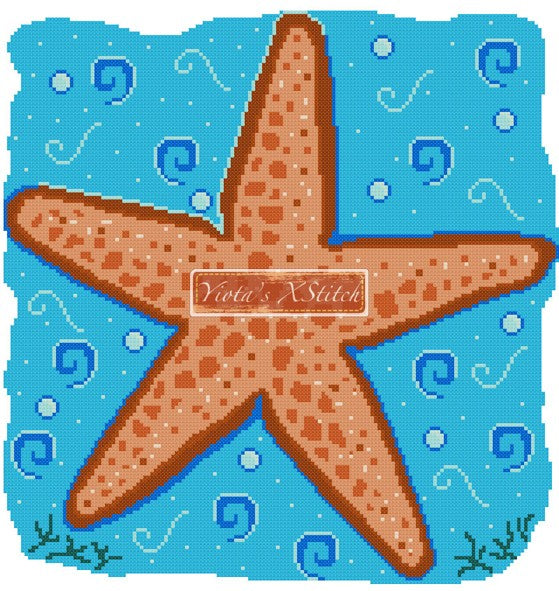Starfish (v2) counted cross stitch kit