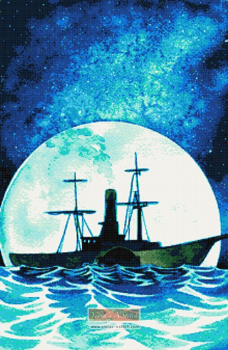 Steam ship counted cross stitch kit