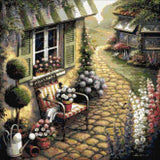 Stone walkway, a lovely garden with flowers in counted cross stitch kit