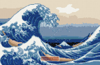 The Great Wave by Katsushika Hokusai  in counted cross stitch kit
