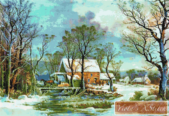 The old grist mill landscape by Currier and Ives counted cross stitch kit