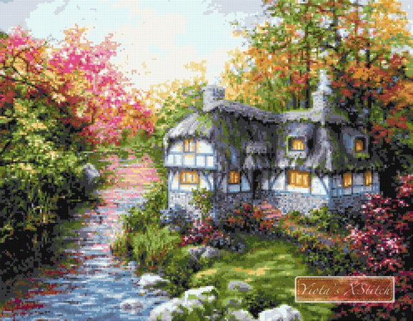 There is no place like home, a beautiful cottage in the lake counted cross stitch kit