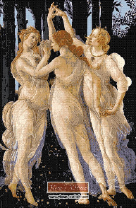 Three graces Botticelli counted cross stitch kit