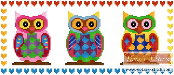 Three owls counted cross stitch kit