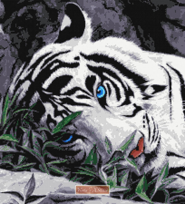 Tiger blue eyes counted cross stitch kit