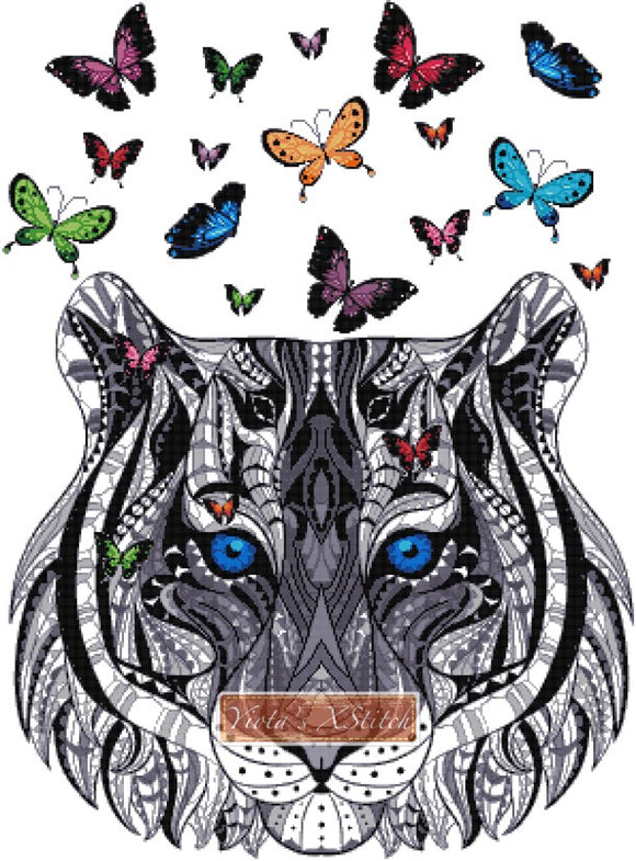Tiger with butterflies counted cross stitch kit