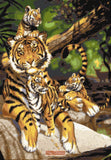 Tiger with three cubs counted cross stitch kit