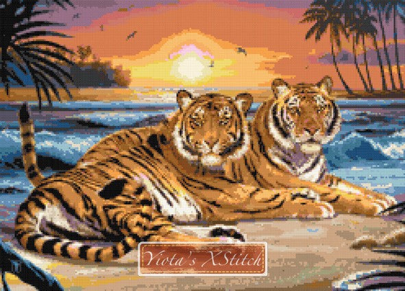 Tigers in sunset counted cross stitch kit