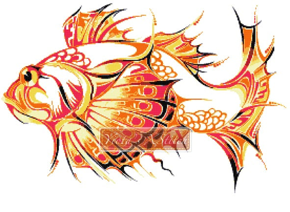 Tribal fish counted cross stitch kit