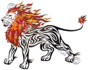 Tribal flame lion counted cross stitch kit