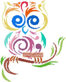 Tribal owl multicolour counted cross stitch kit