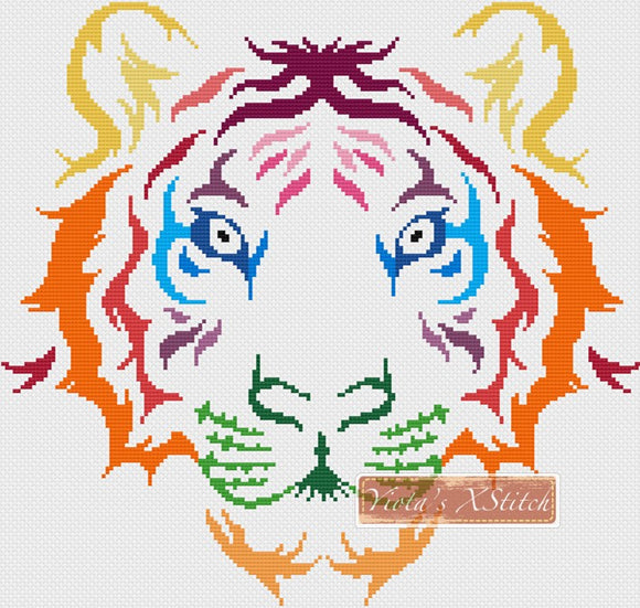 Tribal rainbow tiger counted cross stitch kit