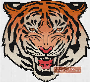 Tribal tiger color counted cross stitch kit