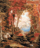Under the trees autumnal woods by Thomas Moran counted cross stitch kit