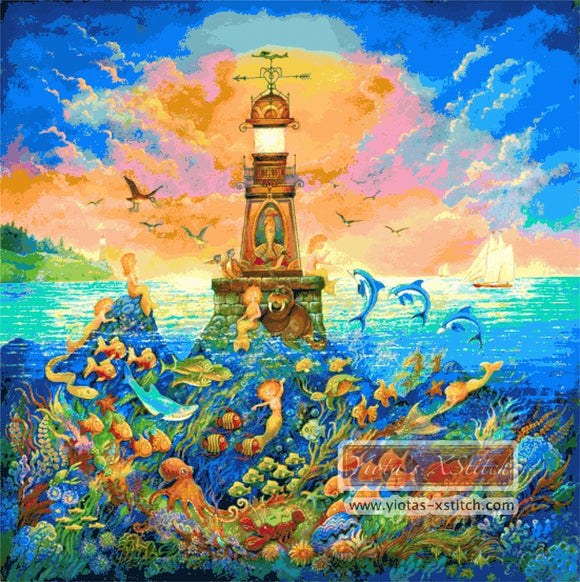 A lighthouse in sea, the design is called underwater, large and advanced counted cross stitch kit