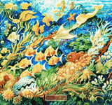 Underwater, sea world with different kind of fish in counted cross stitch kit