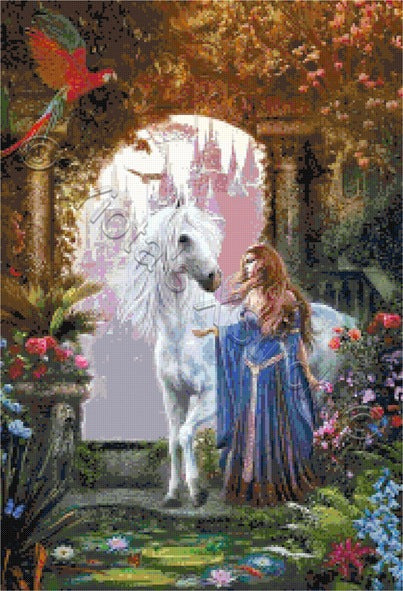 Unicorn in garden counted cross stitch kit