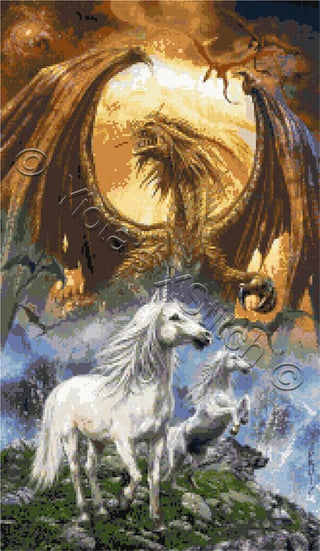 Unicorns with dragons counted cross stitch kit