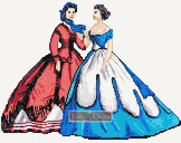 Victorian elegant ladies v2 counted cross stitch kit