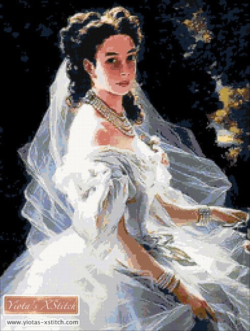 Victorian bride counted cross stitch kit