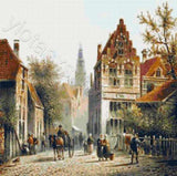 Victorian street village by Adrianus Eversen counted cross stitch kit