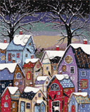 Village at 9pm counted cross stitch kit. Modern landscape counted cross stitch kit with whole stitches only.