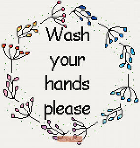 Wash your hands please cross stitch kit