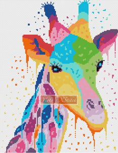 Watercolor giraffe counted cross stitch kit