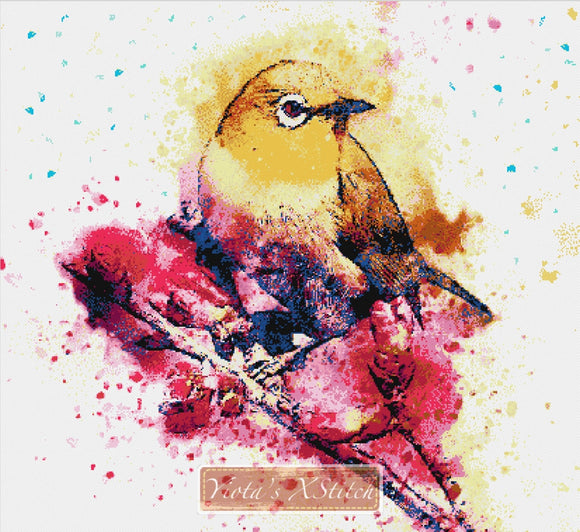 Watercolour bird counted cross stitch kit