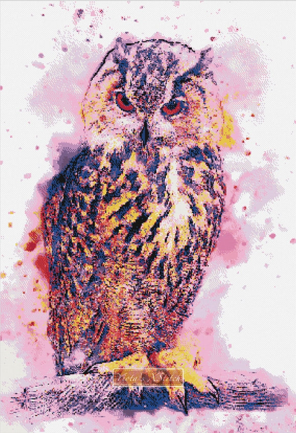 Watercolour owl No1 counted cross stitch kit