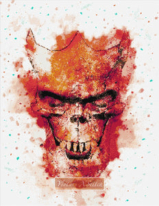 Watercolour skull counted cross stitch kit