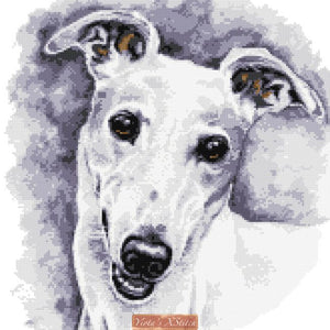 White greyhound counted cross stitch kit