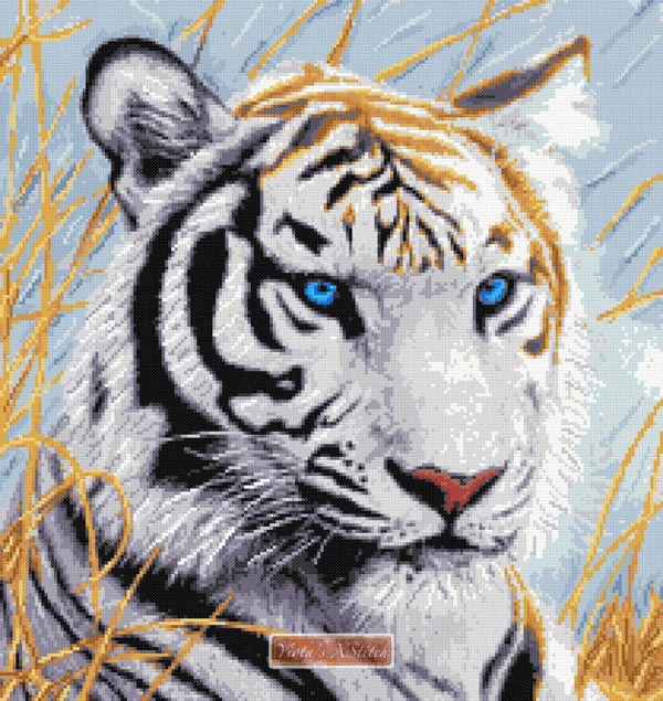 White tiger close up counted cross stitch kit
