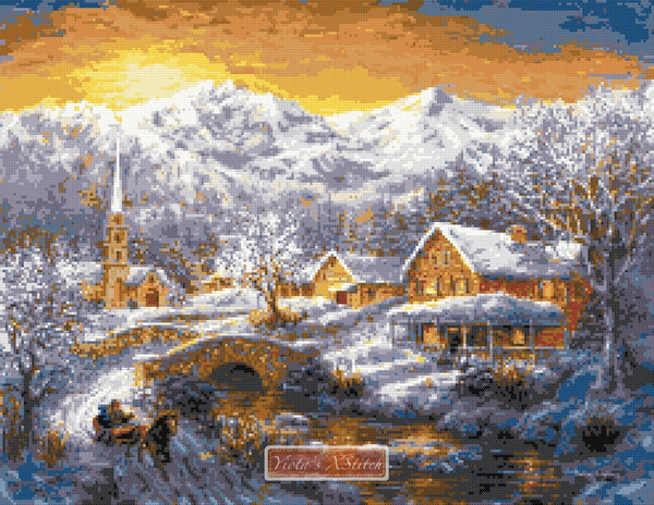 Winter merriment counted cross stitch kit