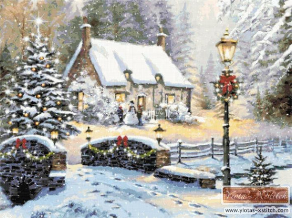 Winter cottage counted cross stitch kit