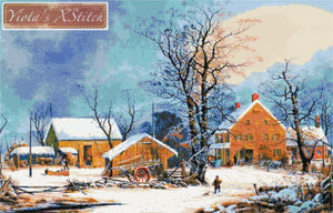 Winter in the country counted cross stitch kit