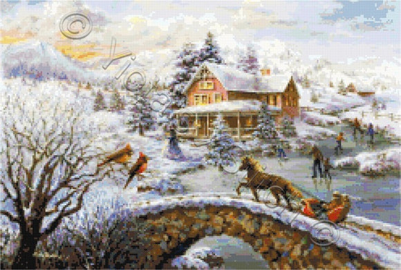 Winter joy counted cross stitch kit