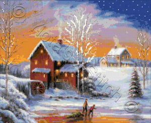 Winter at the old mill counted cross stitch kit
