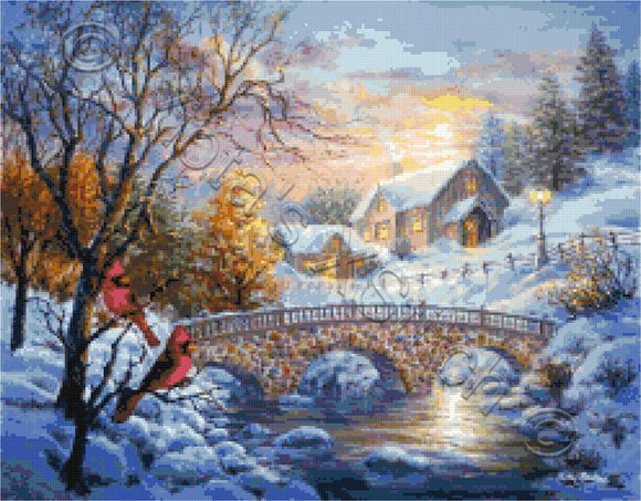 Winter snow sunset counted cross stitch kit