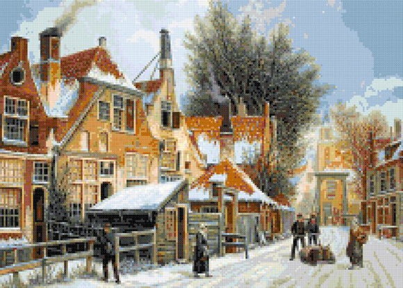 Winter snowed street by Adrianus Eversen counted cross stitch kit
