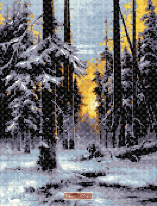 Winter sun dawn (v2) counted cross stitch kit